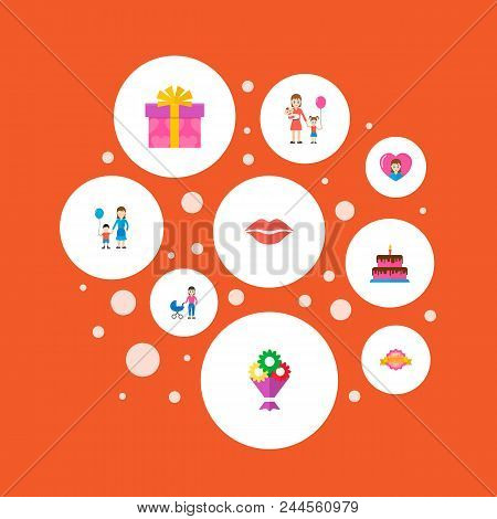Happy Mother's Day Icon Flat Layout Design With Perambulator, Children And Bouquet Symbols. Lovely M