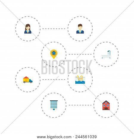 Set Of Realestate Icons Flat Style Symbols With Broker, Realtor, Pool And Other Icons For Your Web M