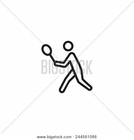 Badminton Player Line Icon. Racket, Court, Game. Summer Sport Concept. Can Be Used For Topics Like A