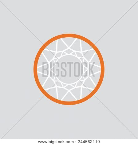 Simple Basketball Basket And Net. Vector Illustration