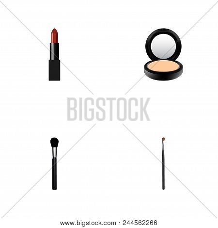Set Of Cosmetics Realistic Symbols With Brow Makeup Tool, Fashion Equipment, Powder And Other Icons