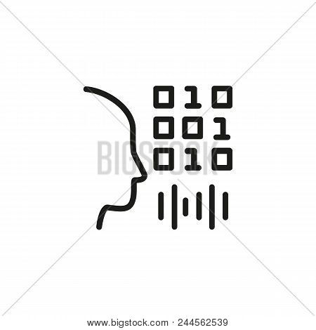 Voice Authentication Line Icon. Man, Binary Code, Soundwave. Recognition Concept. Can Be Used For To