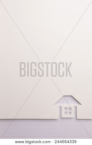 Background Of White Paper Cutout In Complete House Shape Border By Blue Line Notepaper, For Home And