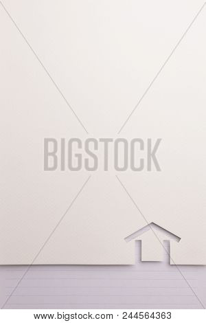 Background Of White Paper Cutout In Minimal House Shape Border By Blue Line Notepaper, For Home And