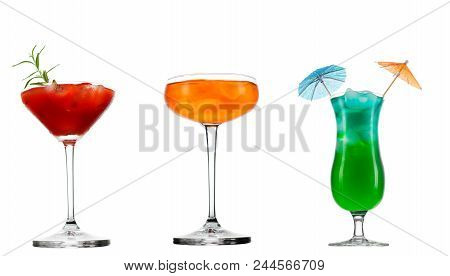 Fresh Cold Summer Cocktail Glass Of Aperol Spritz Cocktail Isolated On White Background.