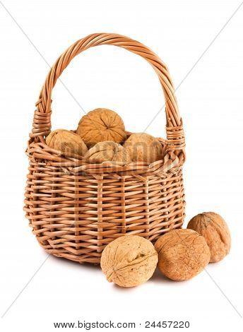 Wicker Basket With Walnuts