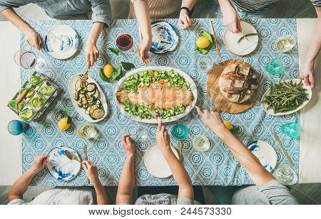 Family Or Friends Summer Party Or Seafood Dinner. Flat-lay Of Group Of Mutinational People With Diff