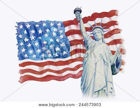 Statue Liberty On Flag American- Hand Drawn In White Background. Watercolor Painting Of Symbol Famou