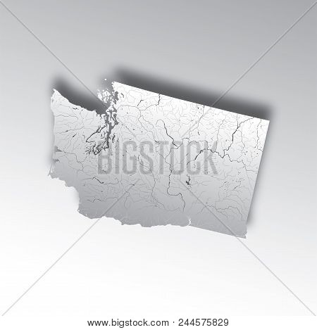 U.s. States - Map Of Washington With Paper Cut Effect. Hand Made. Rivers And Lakes Are Shown. Please
