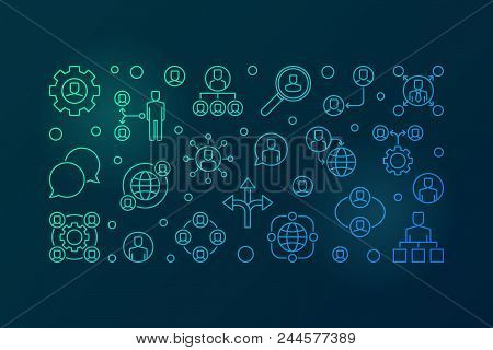 Delegating Vector Colored Horizontal Banner Or Illustration In Thin Line Style On Dark Background