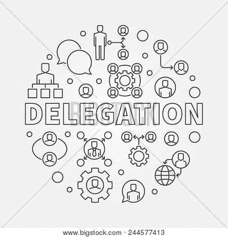 Delegation Round Minimal Illustration. Vector Circular Sign Made With Delegating Line Icons