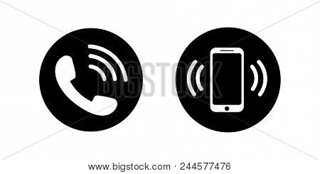 Phone Icon In Flat Style. Call Icon Isolated On White Background. Mobile Phone Device Gadget. Teleph