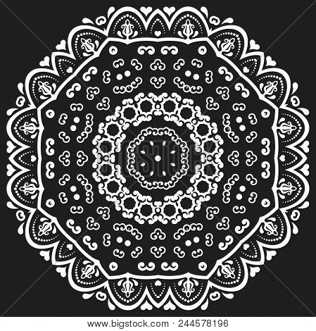 Oriental Pattern With Arabesques And Floral Elements. Traditional Classic Round Black And White Orna