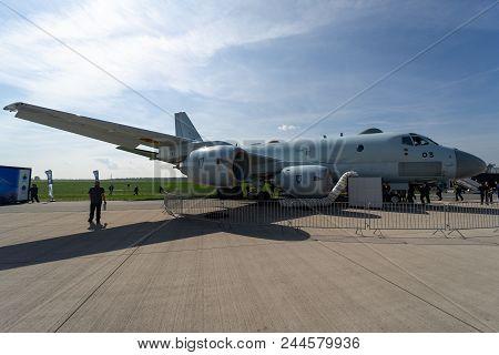 Berlin, Germany - April 27, 2018: Maritime Patrol Aircraft Kawasaki P-1. Japan Maritime Self-defense