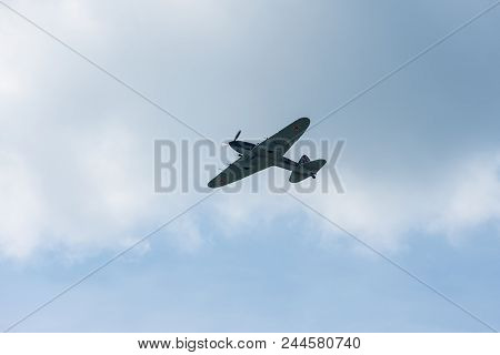 Berlin, Germany - April 27, 2018: Ground-attack Aircraft Ilyushin Il-2 Sturmovik. Exhibition Ila Ber