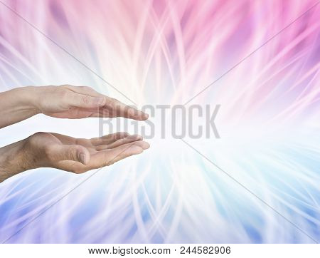 Yin And Yang Energy Merging For Pure Balance - Pink Energy Above A Female Hand Parallel With Blue En