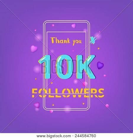 10k Followers Thank You Phrase With Random Items. Template For Social Media Post. Chromatic Aberrati