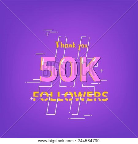 50k Followers Thank You Phrase With Random Items. Ultra Violet Palette Colors. Template For Social M