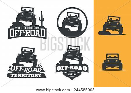 Set Of Off-road Suv Car Monochrome Logo, Emblems And Badges Isolated On White Background. Rock Crawl