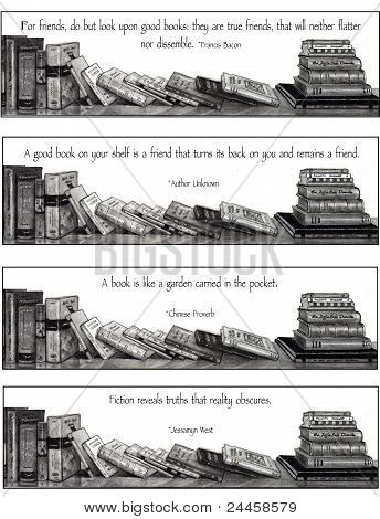 Four Bookmarks: Drawing of Books, With Quotes