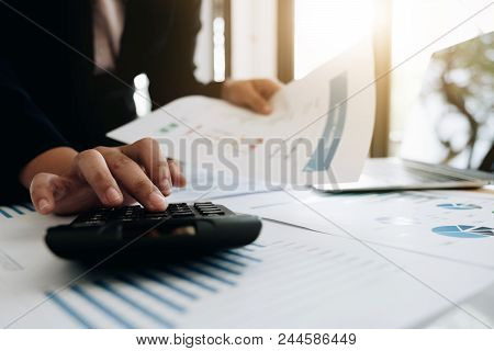 Accounting Using Calculator For Calculating Financial, Businessman Accountant Or Banker Making Calcu
