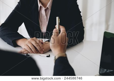 Job Interview, Young Executives Man Asking Questions To Applicant About Work History, Colloquy Dream