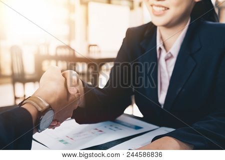 Business People Shaking Hands, Finishing Up Meeting, Business Etiquette, Congratulation, Merger And