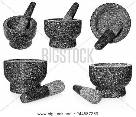 Granite Mortar With Pestle. Empty Crushing Dish, Isolated On A White Background.