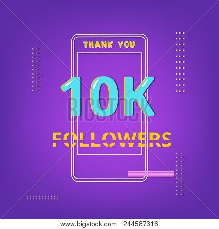 10k Followers Thank You Phrase With Random Items. Template For Social Media Post. Glitch Chromatic A