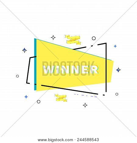 Winner Linear Banner. Glitch Chromatic Aberration Style. Templates For Social Media Post. Vector Ill