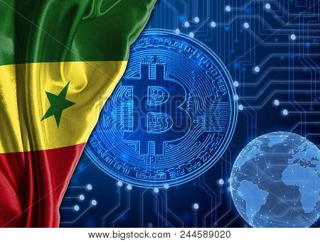 Flag of Senegal is shown against the background of crypto currency bitcoin. Global world crypto currency-bitcoin. Shows the current exchange rate, fluctuations, the growth and fall graph in countries. poster