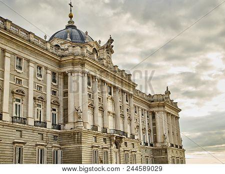 North Facade Of Royal Palace. Madrid, Spain.