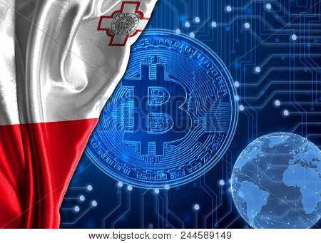 Flag Of Malta Is Shown Against The Background Of Crypto Currency Bitcoin. Global World Crypto Curren