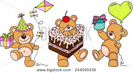 Scalable Vectorial Representing A Cute Three Teddy Bears Happy Birthday, Element For Design, Illustr