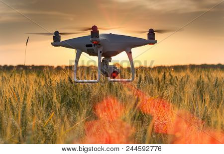 Drone Flying Above Wheat Field And Mapping