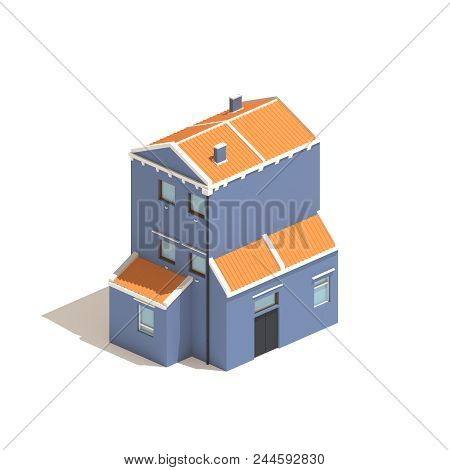 Isometric Blue House 3d Model Illustration Isolated On White Background