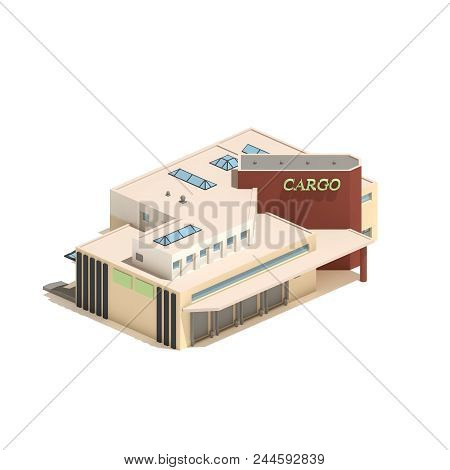 Flat 3d Model Isometric Cargo Industry Or Factory Building Illustration Isolated On White Background