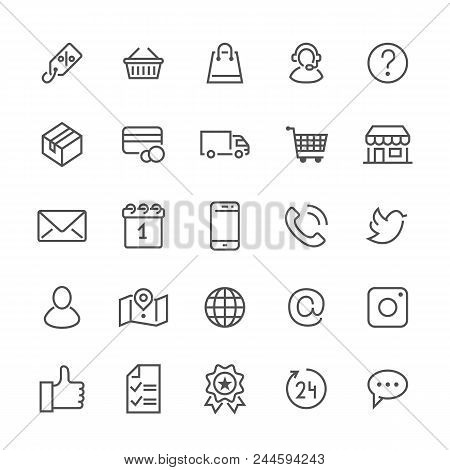 Online Shopping Flat Line Icons. E-commerce Business, Contacts, Support, Social Networks, Shop Baske
