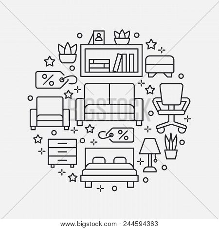 Furniture Sale Banner Illustration With Flat Line Icons. Interior Store Poster. Living Room, Bedroom