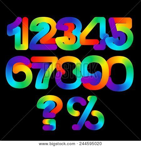 Rainbow 3d Numbers Set, Vector Illustration. Colorful Number Symbols Isolated On Black Background. N