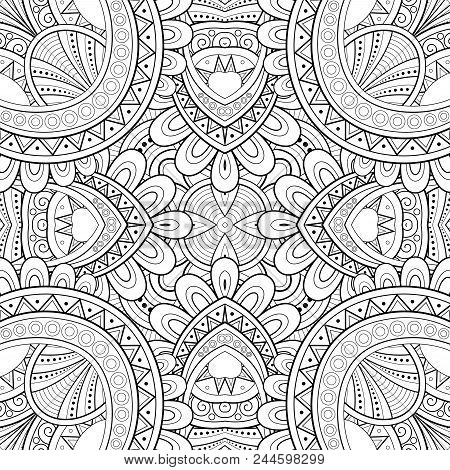 Monochrome Seamless Tile Pattern, Fancy Kaleidoscope. Endless Ethnic Texture With Abstract Design El