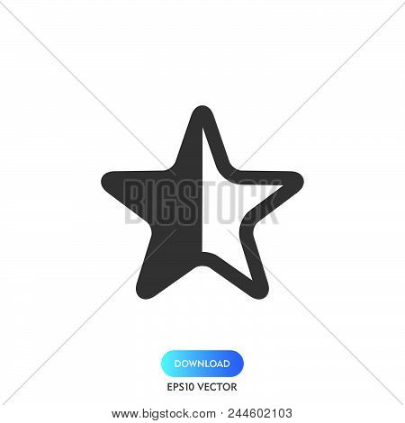 Half Star Icon Simple Vector Sign And Modern Symbol. Half Star Vector Icon Illustration, Editable St