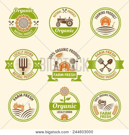 Farming Organic Products, Farm Fresh Products, Agriculture And Natural Harvest Set Of Vector Colored