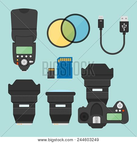 Photography Equipments Set Of Vector Illustration, Design Elements In Flat Style, Photo Camera Top V