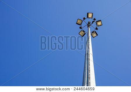 Ground Light Pole On Blusky Background .energy Lamp