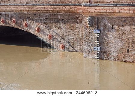 Bridge With Full River . River Is Full . Bridge To Cross The River That Is Flooding