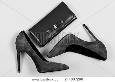 Purse And Shoes In Dark Blue Color. Fashion And Classic Style Concept. Accessories In Formal Style F