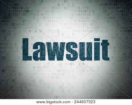 Law Concept: Painted Blue Word Lawsuit On Digital Data Paper Background