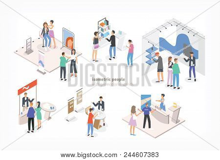 People Walking Among Commercial Promotional Stands And Talking To Consultants And Promoters Advertis