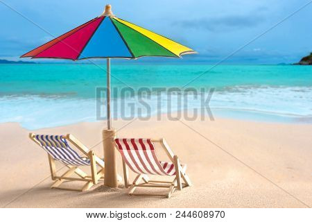 Beach Chairs And With Umbrella